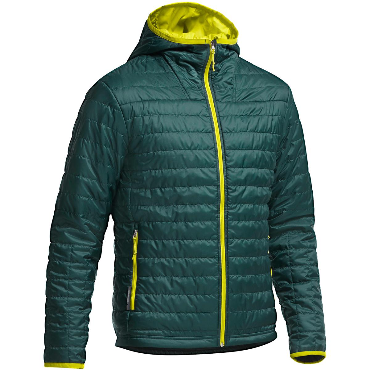 Icebreaker - Helix LS Zip Hood Pine/Chartreuse/Chartreuse - Isolation & Winter Jackets - L