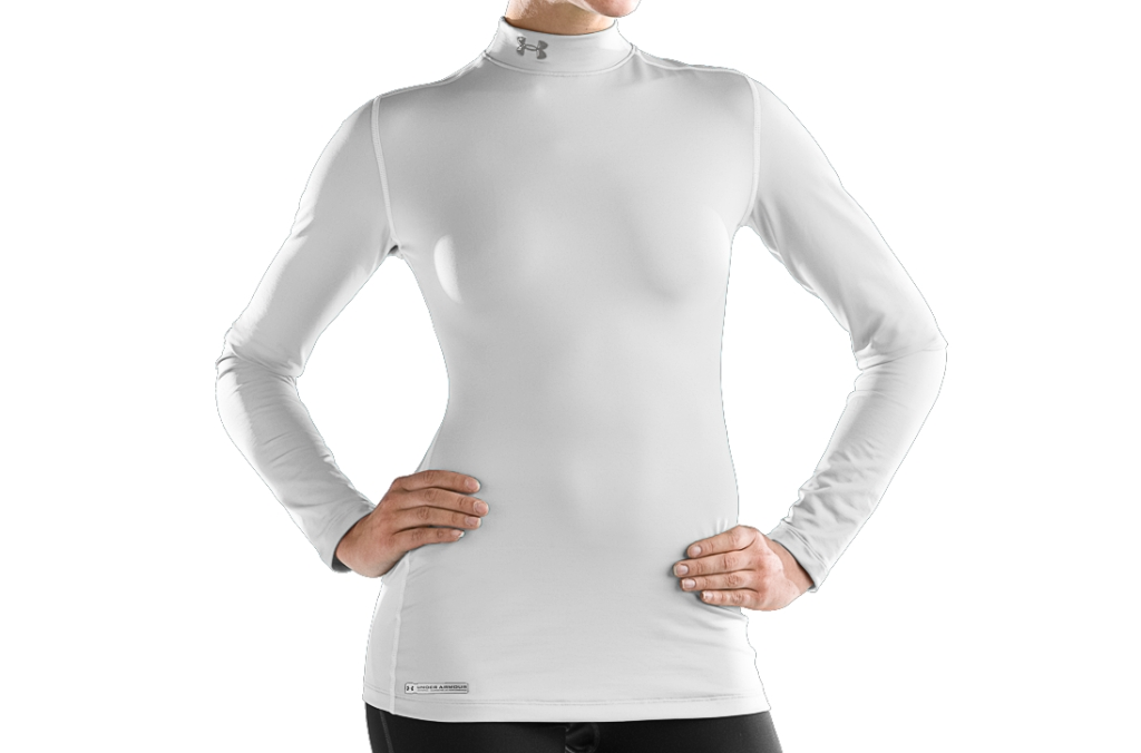 Under Armour ColdGear Fitted Long Sleeve Mock White/Metal-30