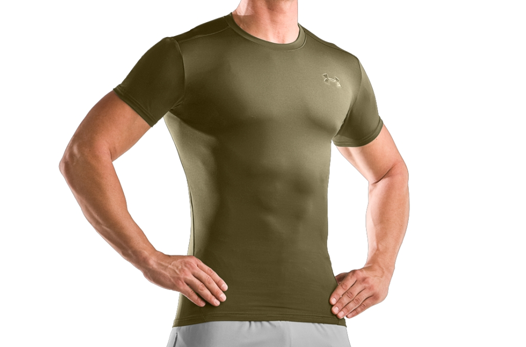 Under Armour Tactical HeatGear Compression Short Sleeve T-Shirt Marine OD Green-30