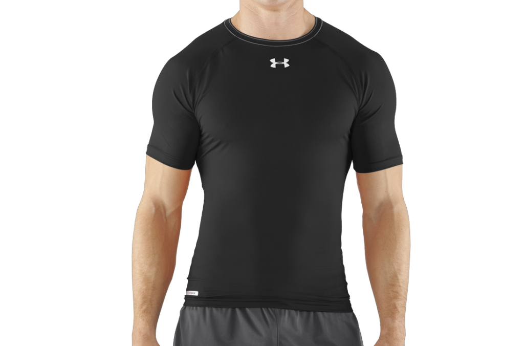 Under Armour HeatGear Sonic Compression Short Sleeve Black/White-30