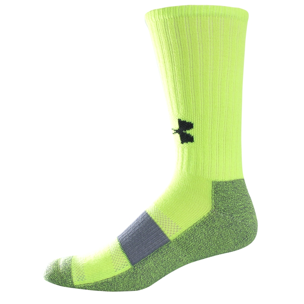Under Armour UA Performance Crew Socks High-Vis Yellow/Black-30