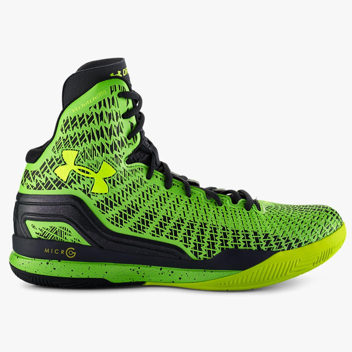 Under Armour UA ClutchFit Drive Mid Basketballschuhe Lead/Hyper Green/High-Vis Yellow-30