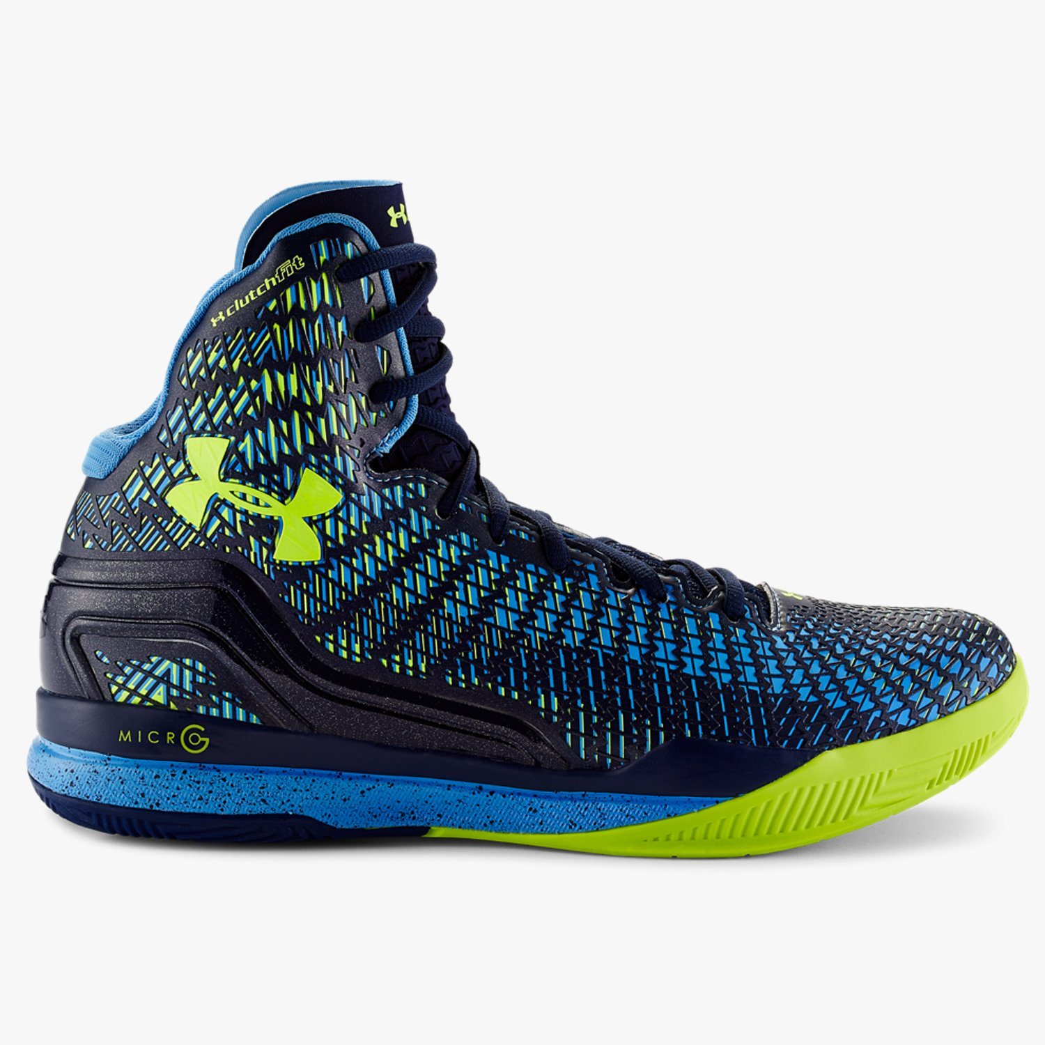 Under Armour UA ClutchFit Drive Mid Basketballschuhe Midnight Navy/Carolina Blue/High-Vis Yellow-30