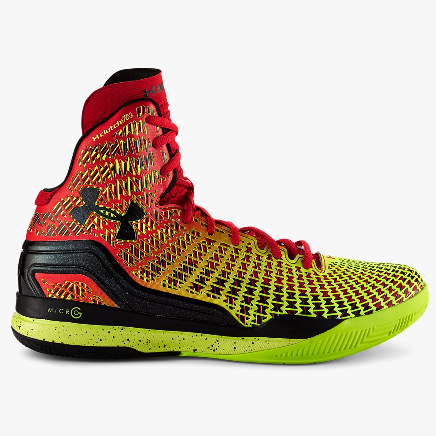 Under Armour UA ClutchFit Drive Mid Basketball Shoes Red/High-Vis Yellow/Black-30