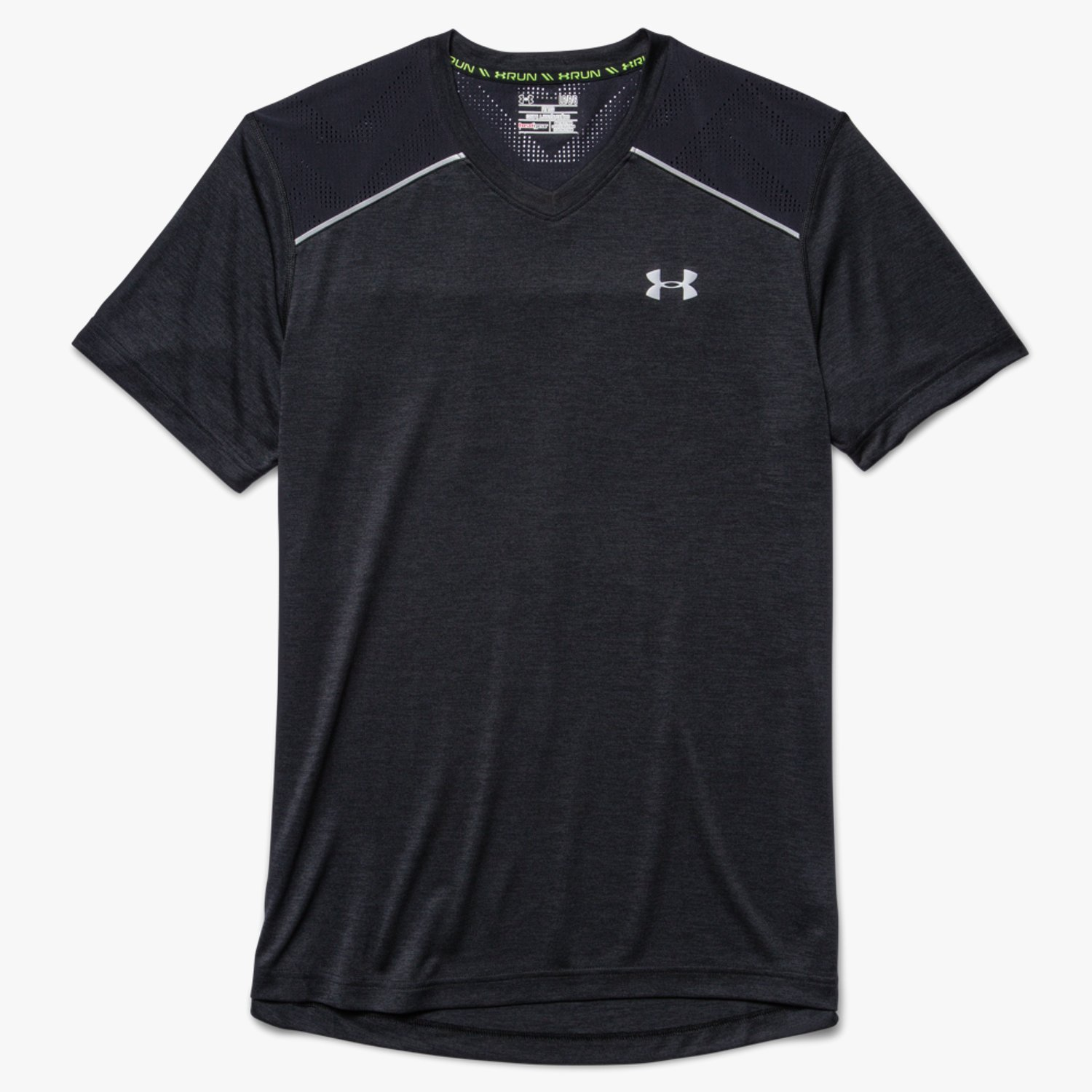 Under Armour UA HeatGear ArmourVent Run V-Neck Short Sleeve T-Shirt Black-30