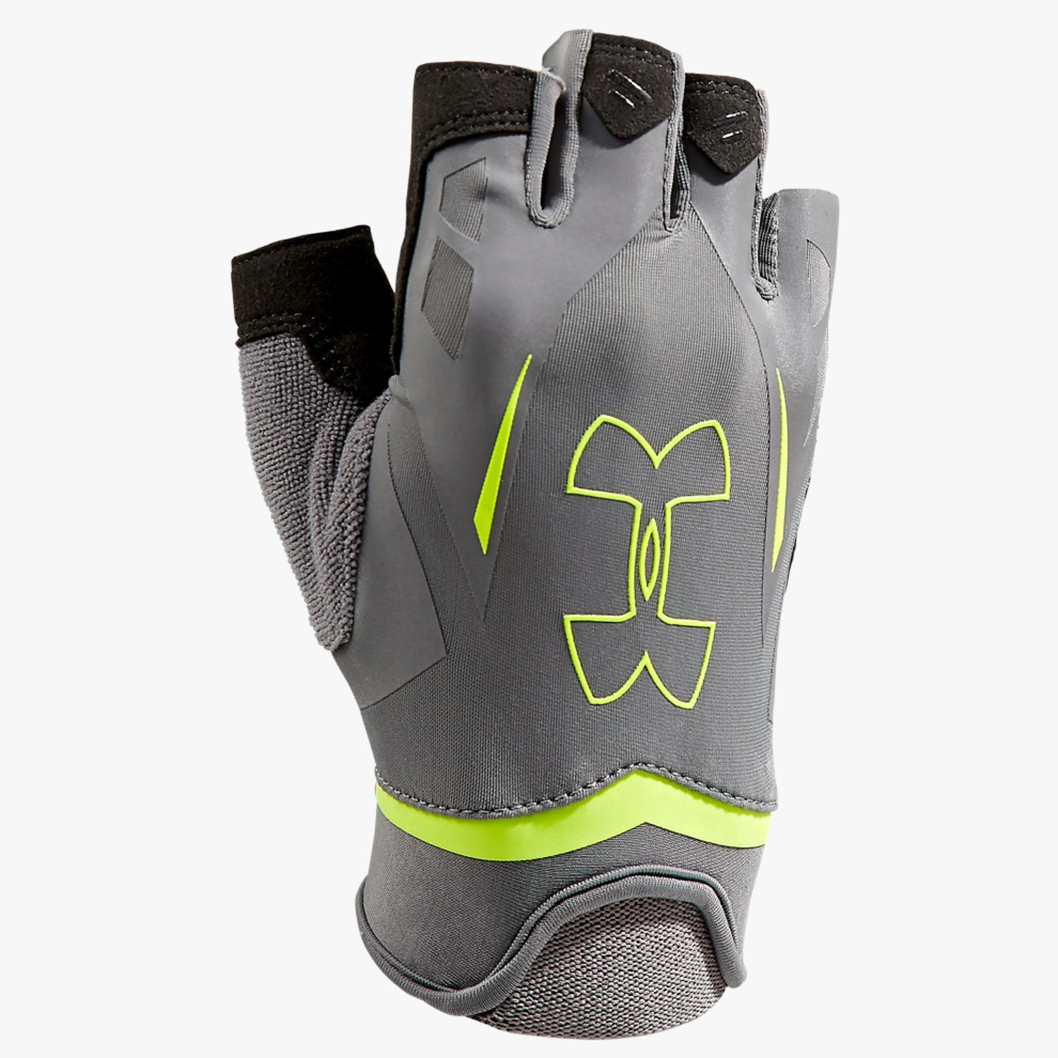 Under Armour UA Flux Half-Finger Training Gloves Graphite/High-Vis Yellow/Black-30