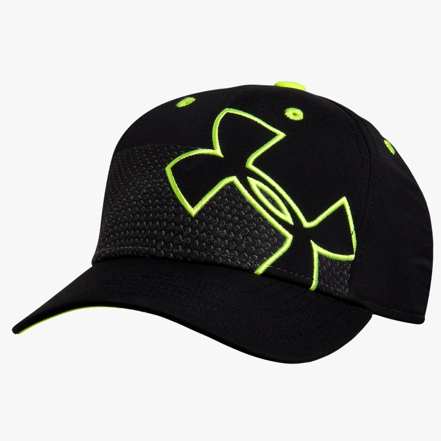 Under Armour Boy's UA Tiltin' Low Crown Stretch Fit Cap Black/High-Vis Yellow/High-Vis Yellow-30