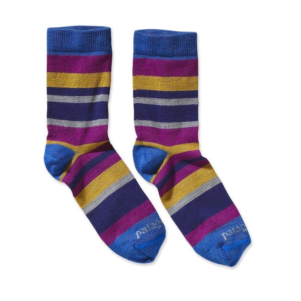 Patagonia Ultra Lightweight Merino Crew Socks Plumb Stripe: Oasis Blue-30