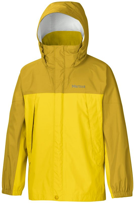 Marmot - Boy's PreCip Jacket Yellow Vapor/Green Mustard - Rain Jackets - S