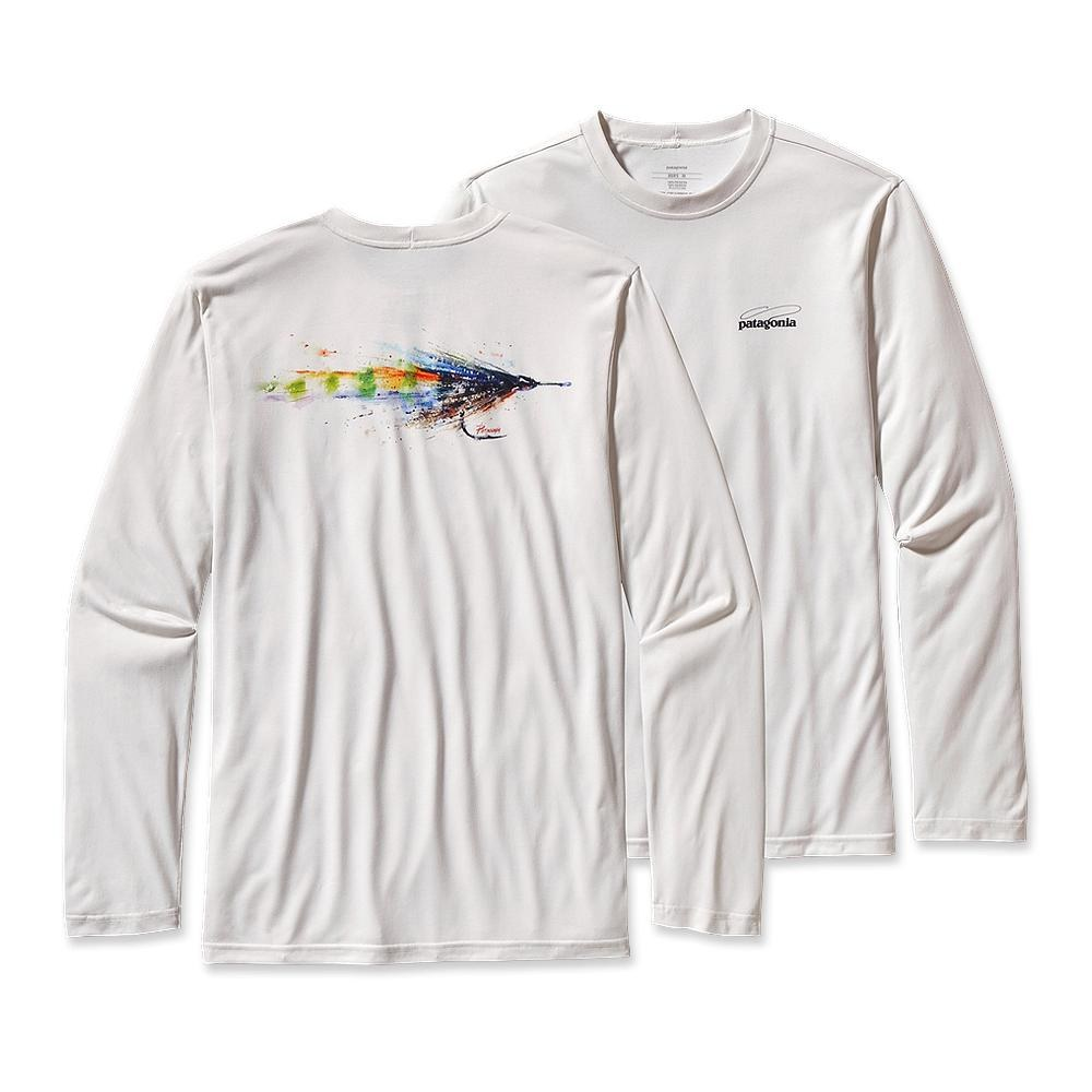 Patagonia Long-Sleeved Graphic Tech Fish Tee Crouser Fly: White-30