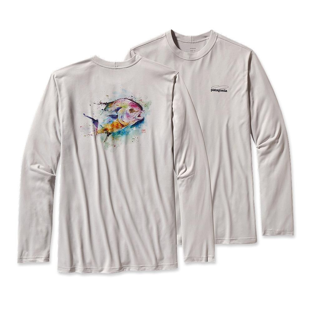Patagonia Long-Sleeved Graphic Tech Fish Tee Crouser Permit: Tailored Grey-30