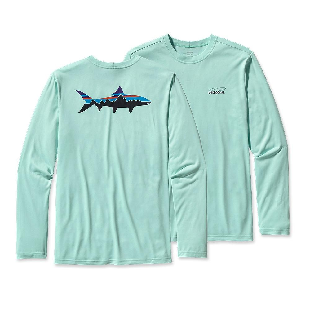 Patagonia Long-Sleeved Graphic Tech Fish Tee Fitz Roy Bonefish: Polar Blue-30