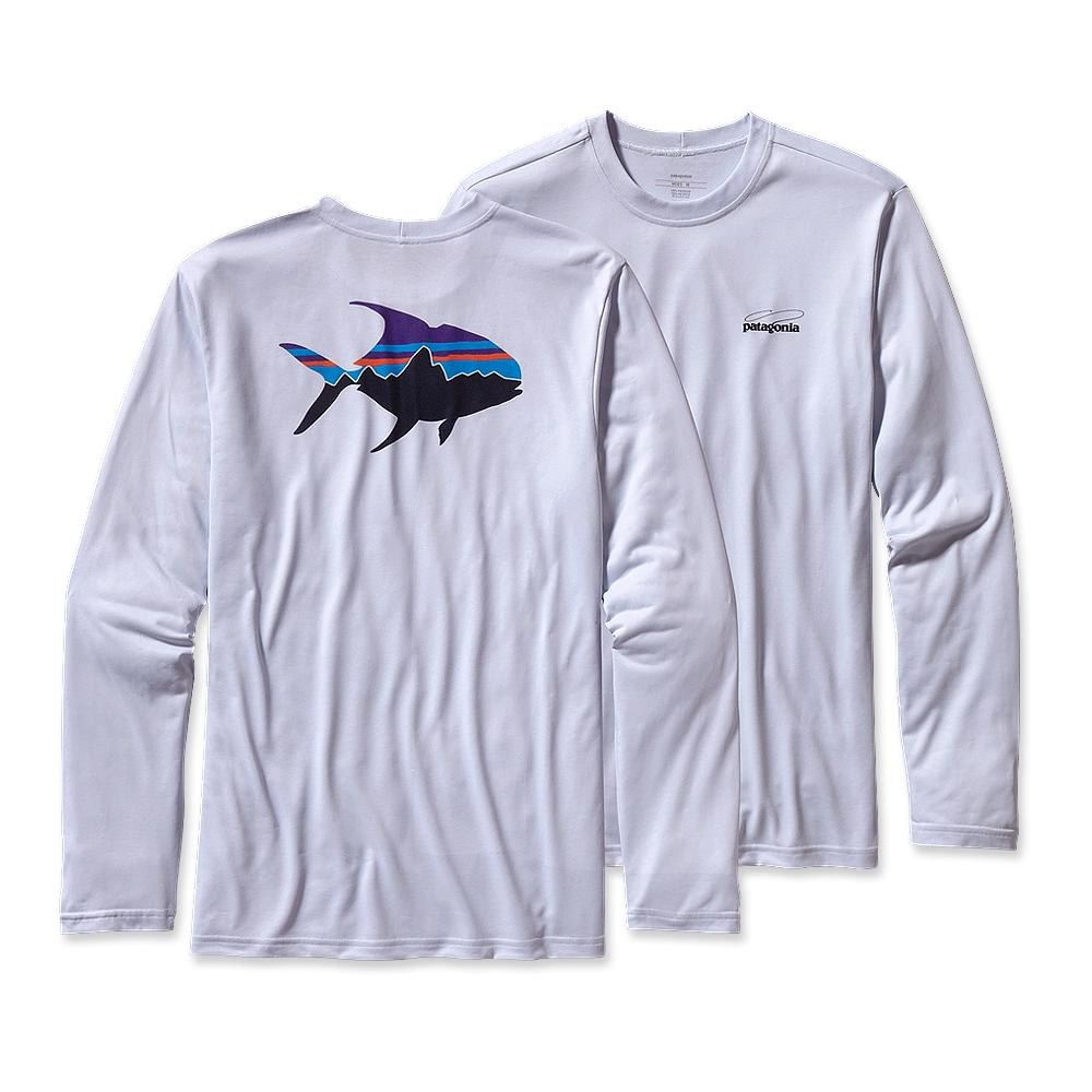 Patagonia Long-Sleeved Graphic Tech Fish Tee Fitz Roy Permit: Ion Blue-30