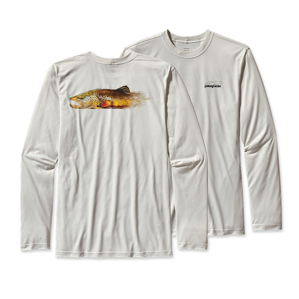 Patagonia Long-Sleeved Graphic Tech Fish Tee Lopez Brown: White-30