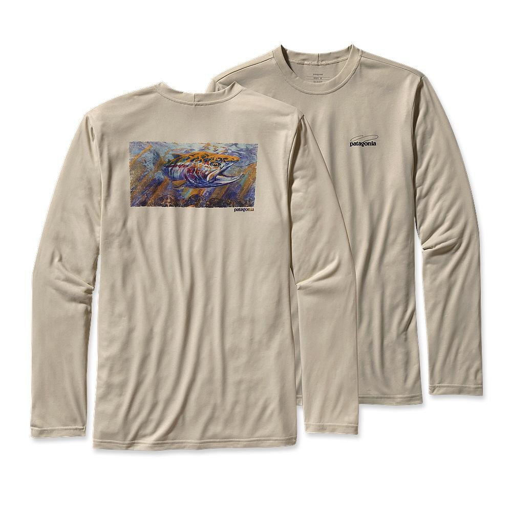 Patagonia Long-Sleeved Graphic Tech Fish Tee Fitz Roy Trout: Bleached Stone-30