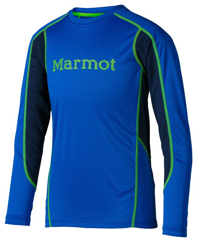 Marmot Boys Windridge with Graphic LS Dark Azure/Green Envy-30