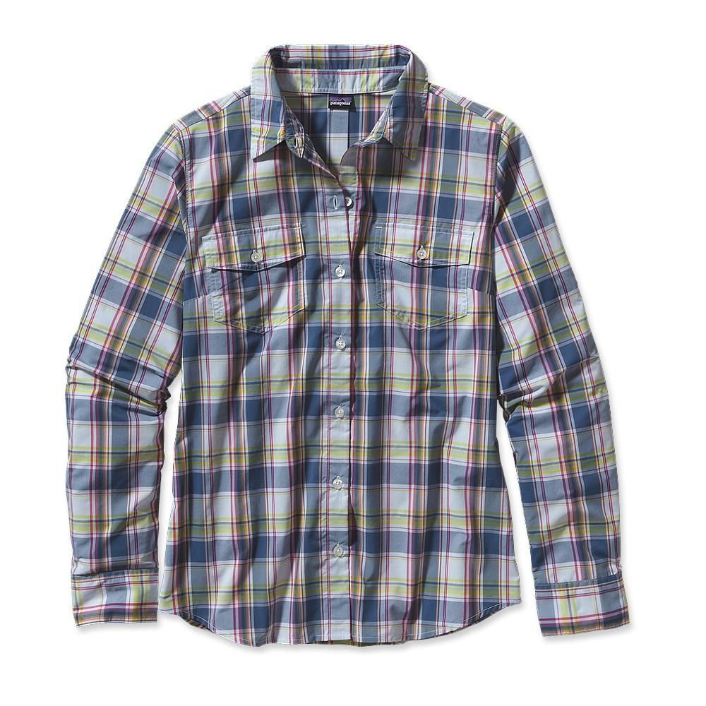 Patagonia Long-Sleeved Overcast Shirt Na Pali Plaid: Glass Blue-30