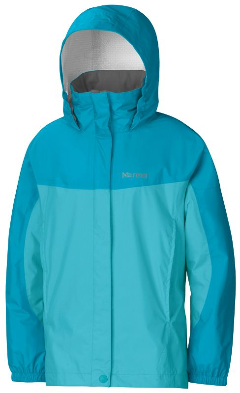 Marmot Girl's PreCip Jacket Light Aqua/Sea Breeze-30