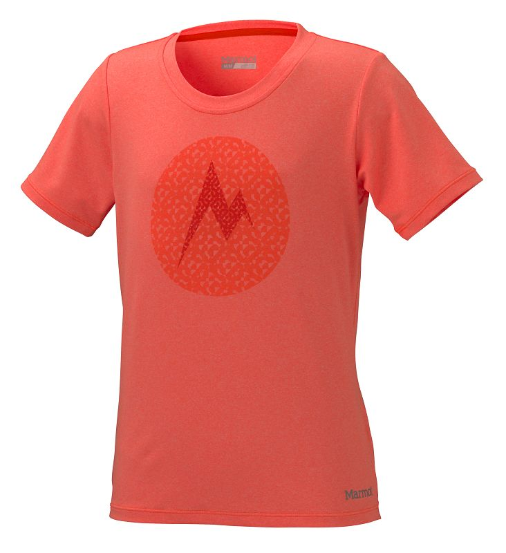Marmot Girl's Post Time Tee SS Bright Orange Heather-30