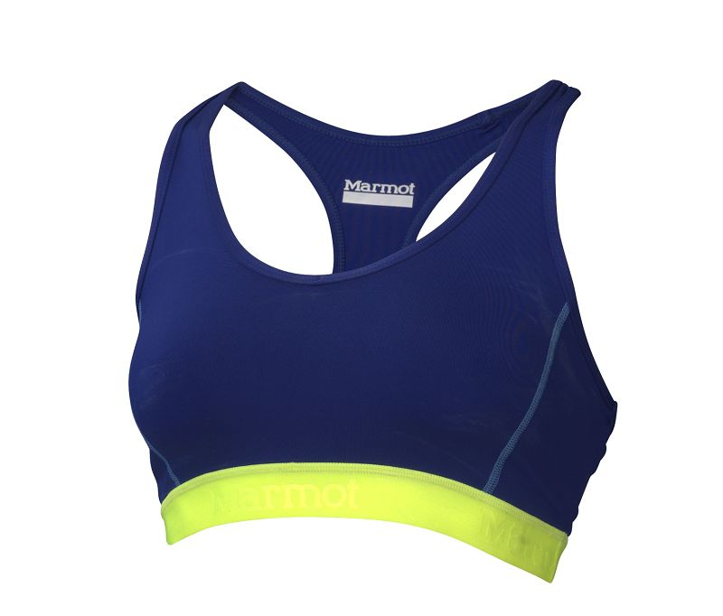 Marmot Wm's Layer Up Sportsbra Midnight Purple/Hyper Yellow-30
