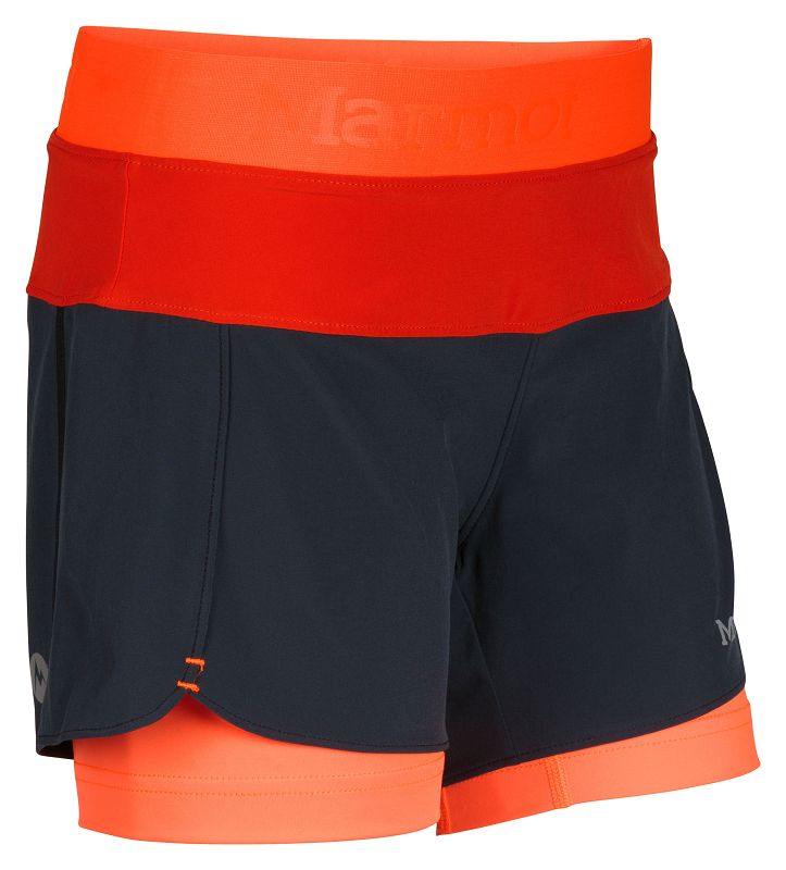 Marmot Girl's Pulse Short Dark Steel/Bright Orange-30
