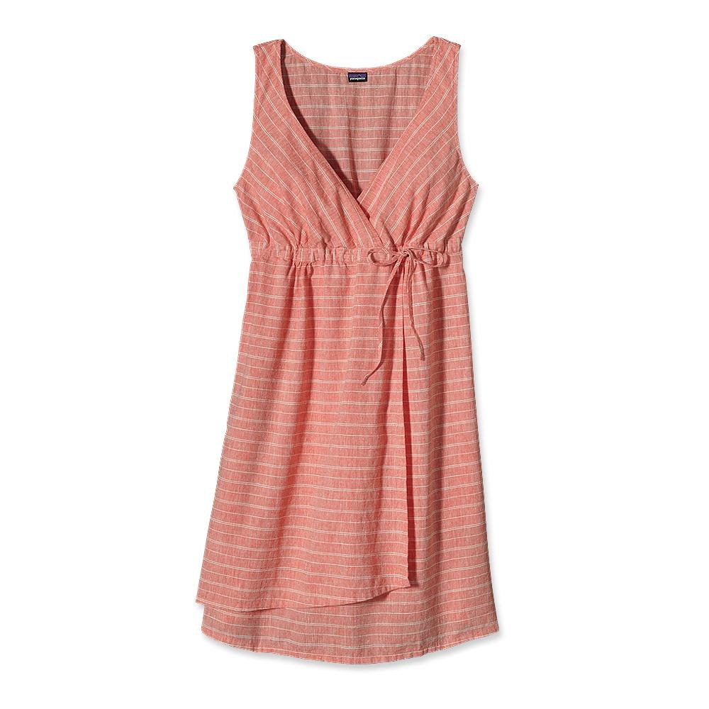 Patagonia Island Hemp Crossover Dress Chambray Stripe: Catalan Coral-30