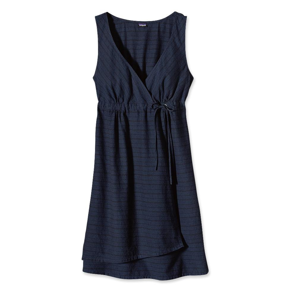 Patagonia Island Hemp Crossover Dress Chambray Stripe: Classic Navy-30