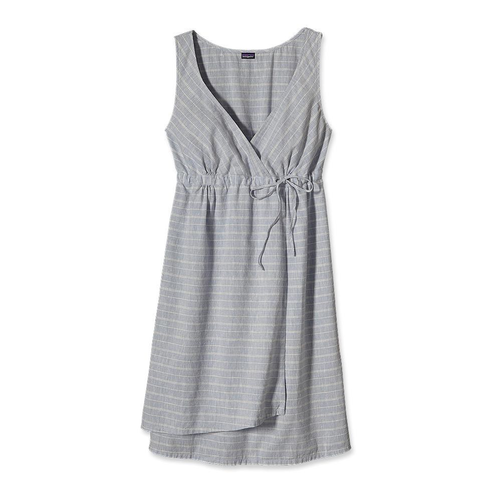 Patagonia Island Hemp Crossover Dress Chambray Stripe: Leaden Blue-30