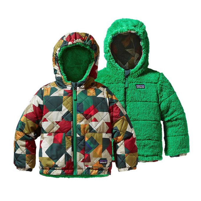 Patagonia - Baby Reversible Tribbles Jacket Dot Block Classic Navy - Isolation & Winter Jackets -