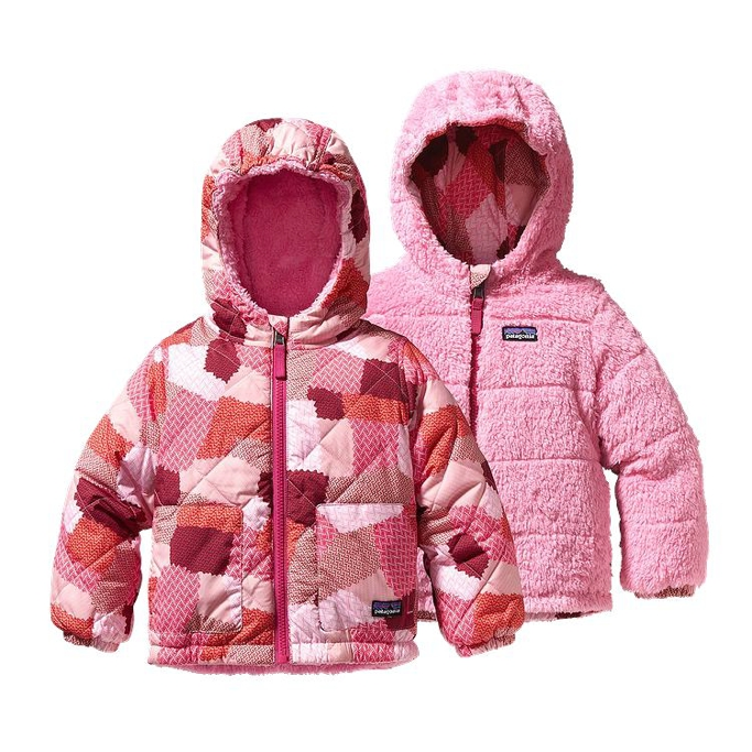 Patagonia - Baby Reversible Tribbles Jacket Patches: Rosy Posy Pink - Isolation & Winter Jackets - 3M