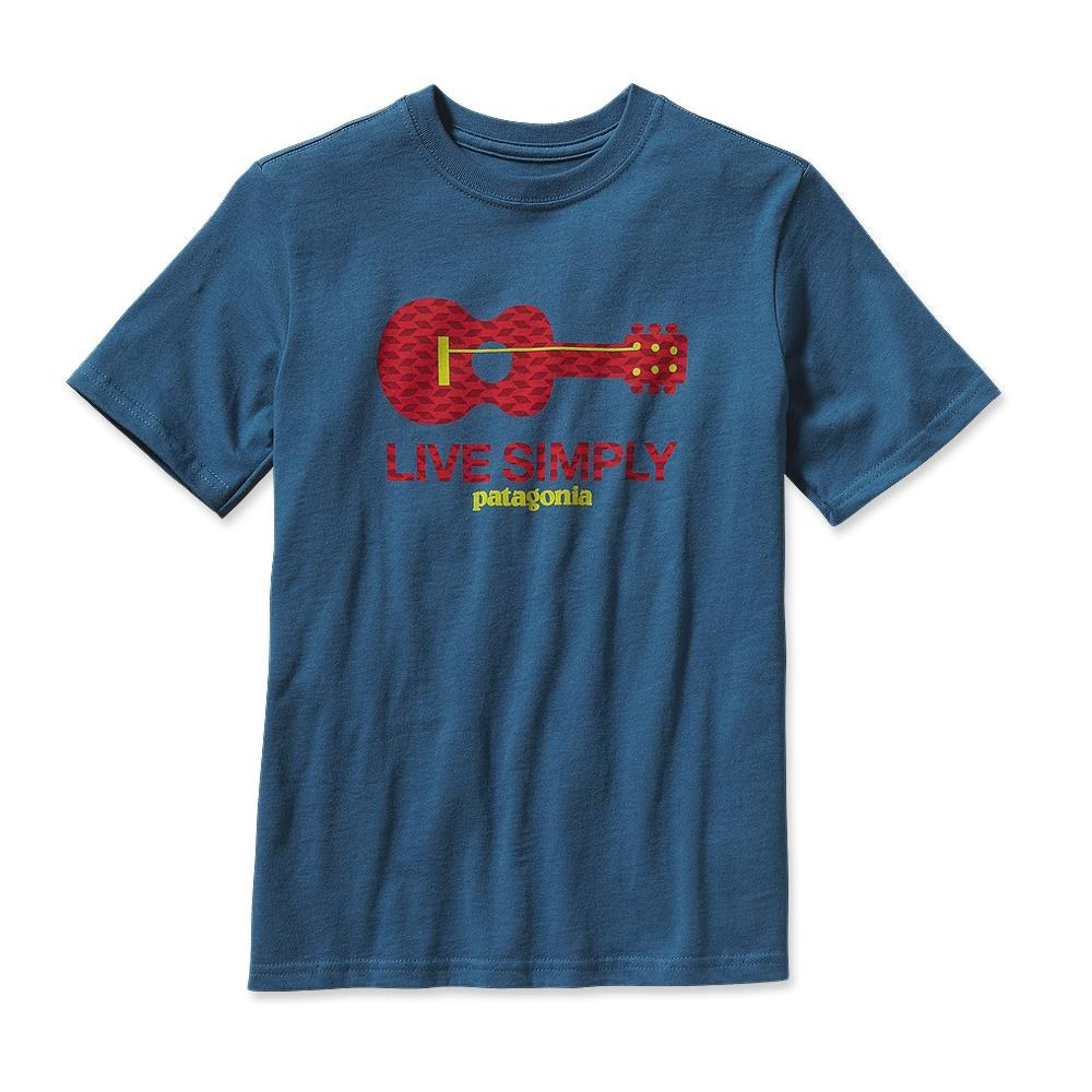 Patagonia Boys' Live Simply Guitar T-Shirt Glass Blue-30