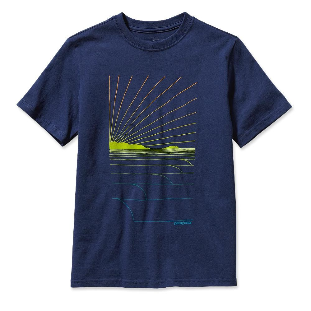 Patagonia Boys' Waves Rolling T-Shirt Classic Navy-30