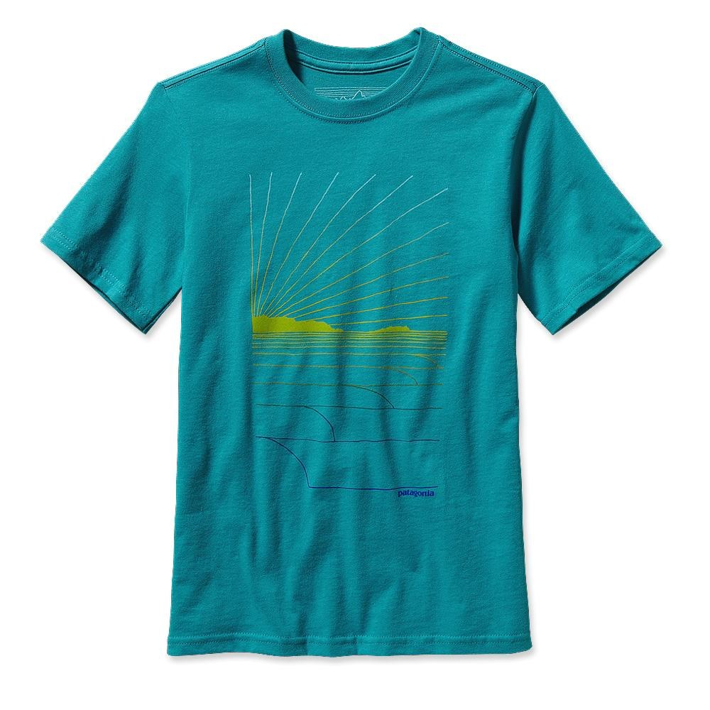 Patagonia Boys' Waves Rolling T-Shirt Tobago Blue-30