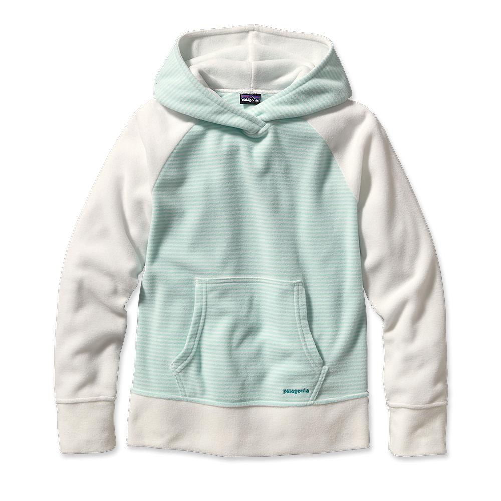 Patagonia Girls' Micro D Fleece Hoody Jenny Stripe: Polar Blue-30