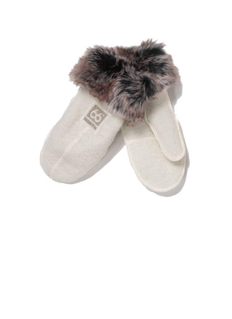 Kaldi Arctic Mittens W / Fur Off White-30