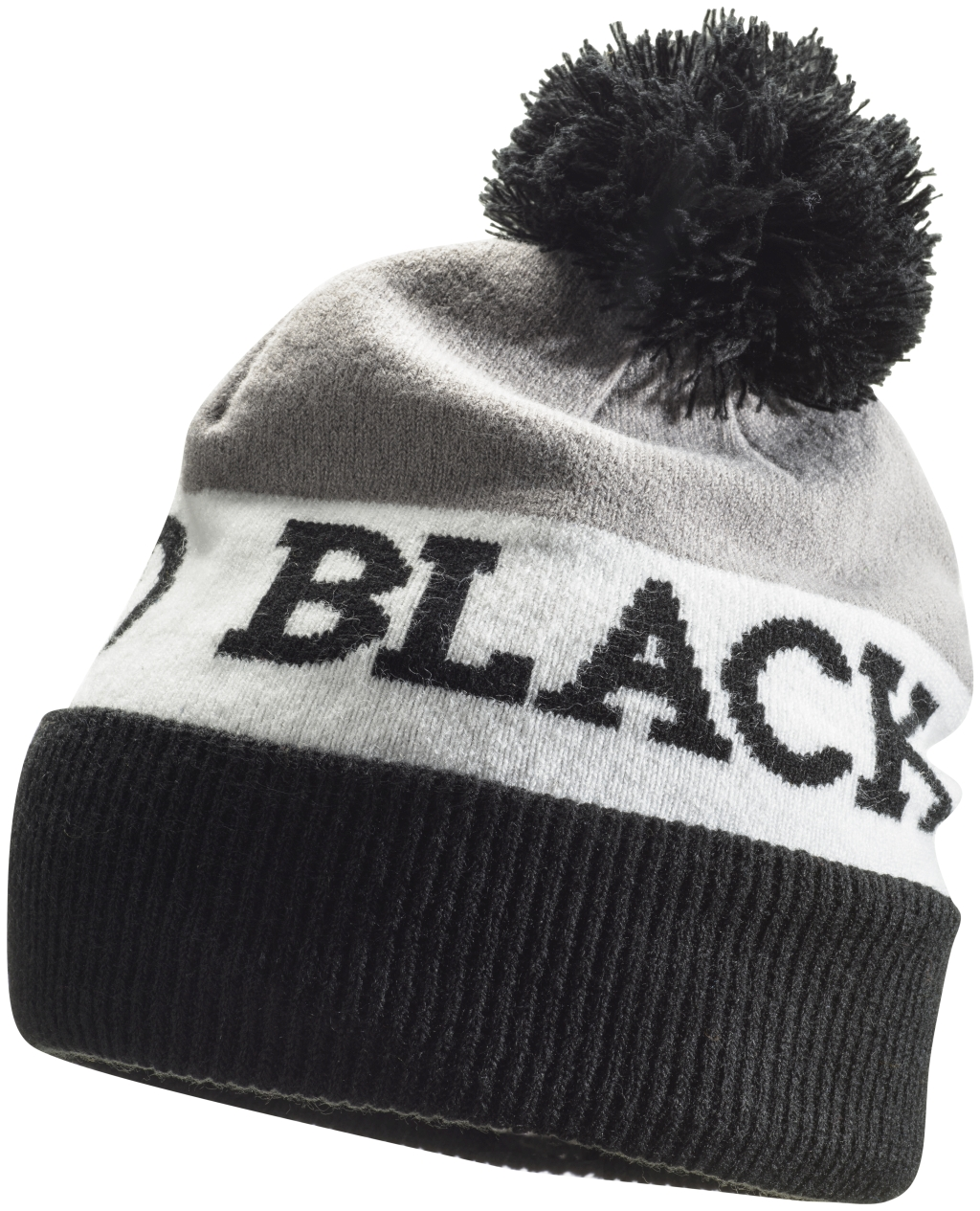 Black Diamond Tom Pom Beanie Black White Nickel-30