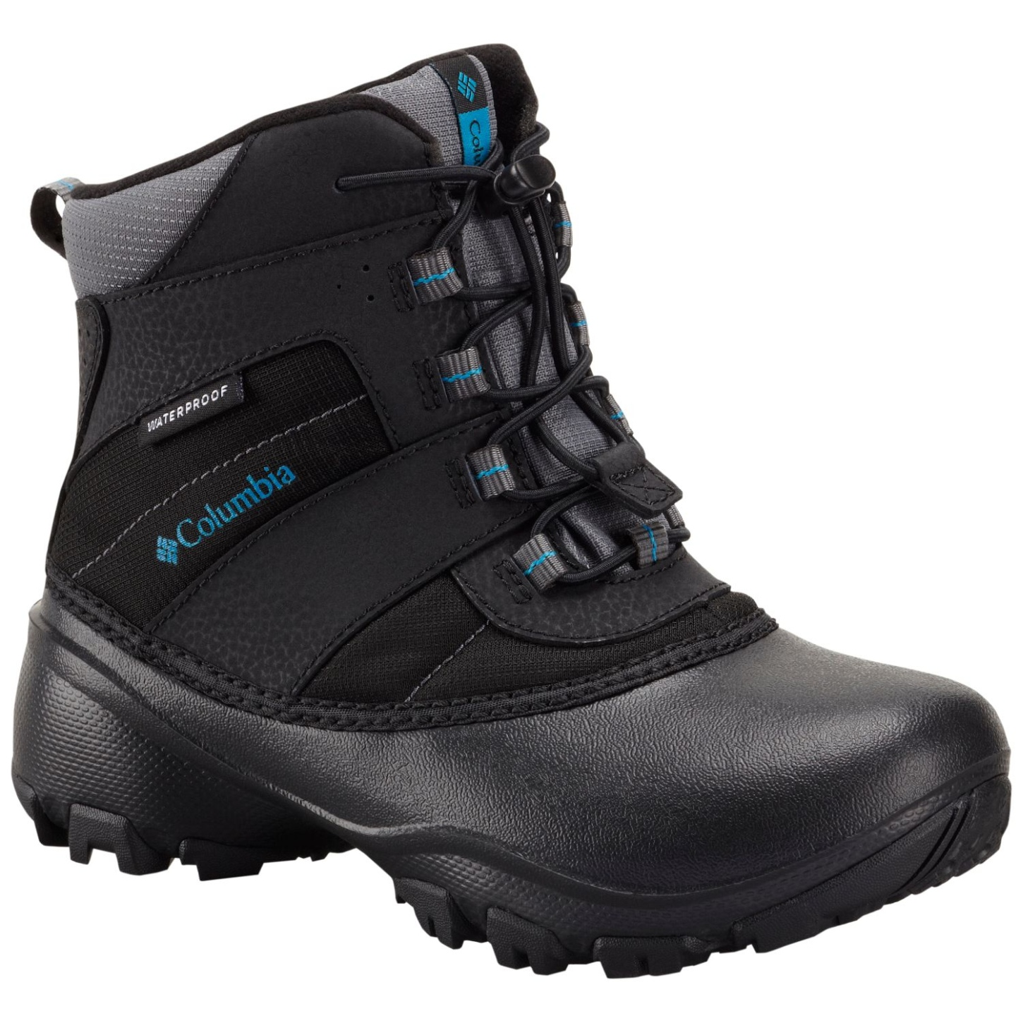 Columbia Boys' Rope Tow III Waterproof Snow Boot Black, Dark Compass-30