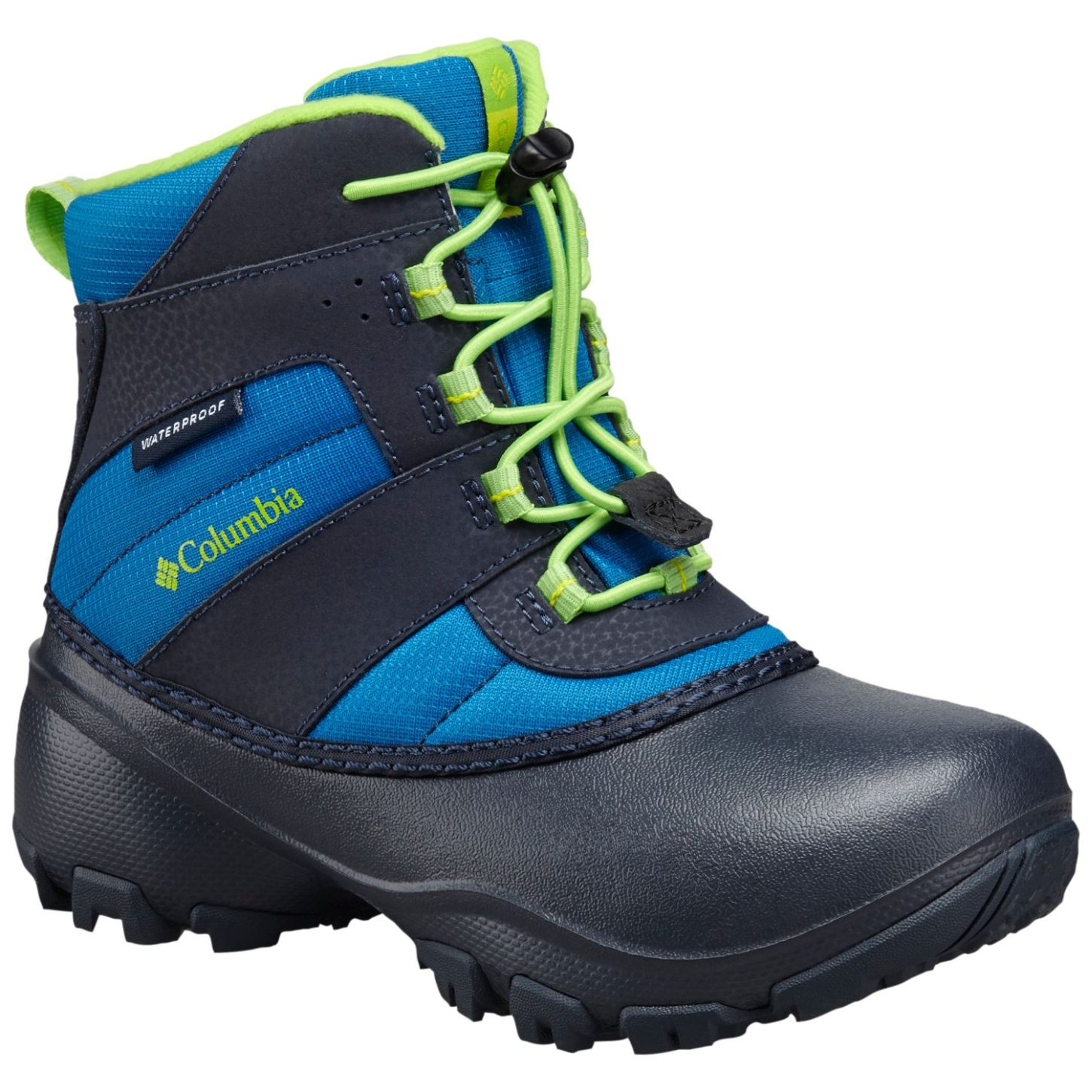 Columbia Boys' Rope Tow III Waterproof Snow Boot Blue Magic, Green Mamba-30