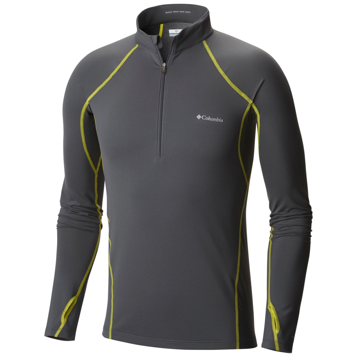 Columbia Men's Midweight Stretch Long Sleeve Half Zip Top Graphite, Acid Yellow-30