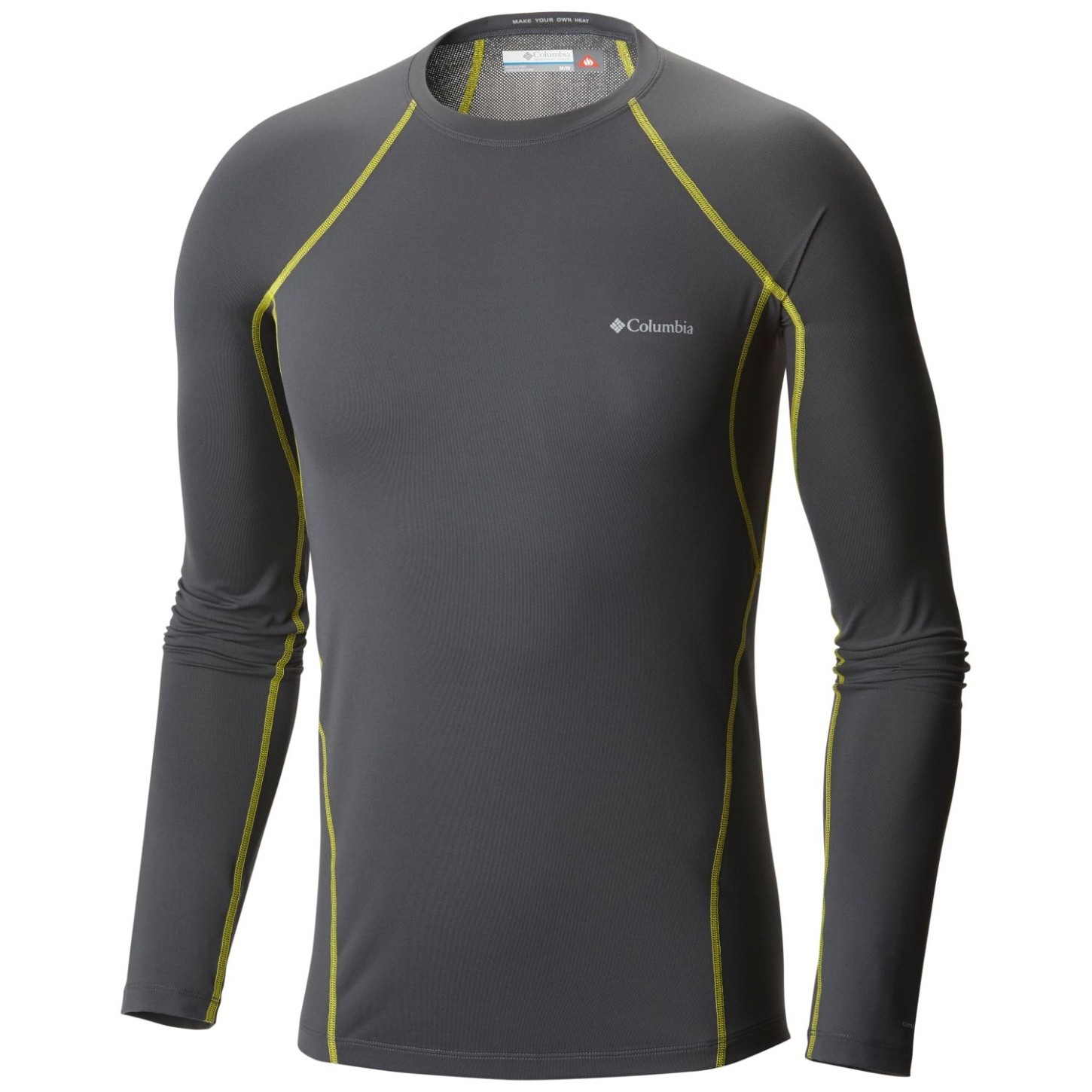 Columbia Midweight Stretch langärmliges Top für Herren Graphite, Acid Yellow-30