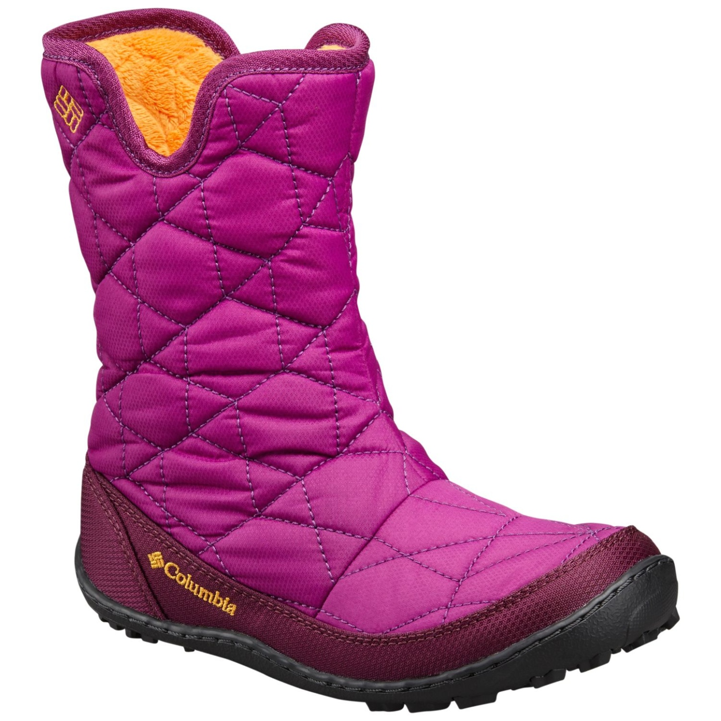 Columbia Girl's Minx Slip Omni-Heat Waterproof Snow Boots Intense Violet, Flame Orange-30