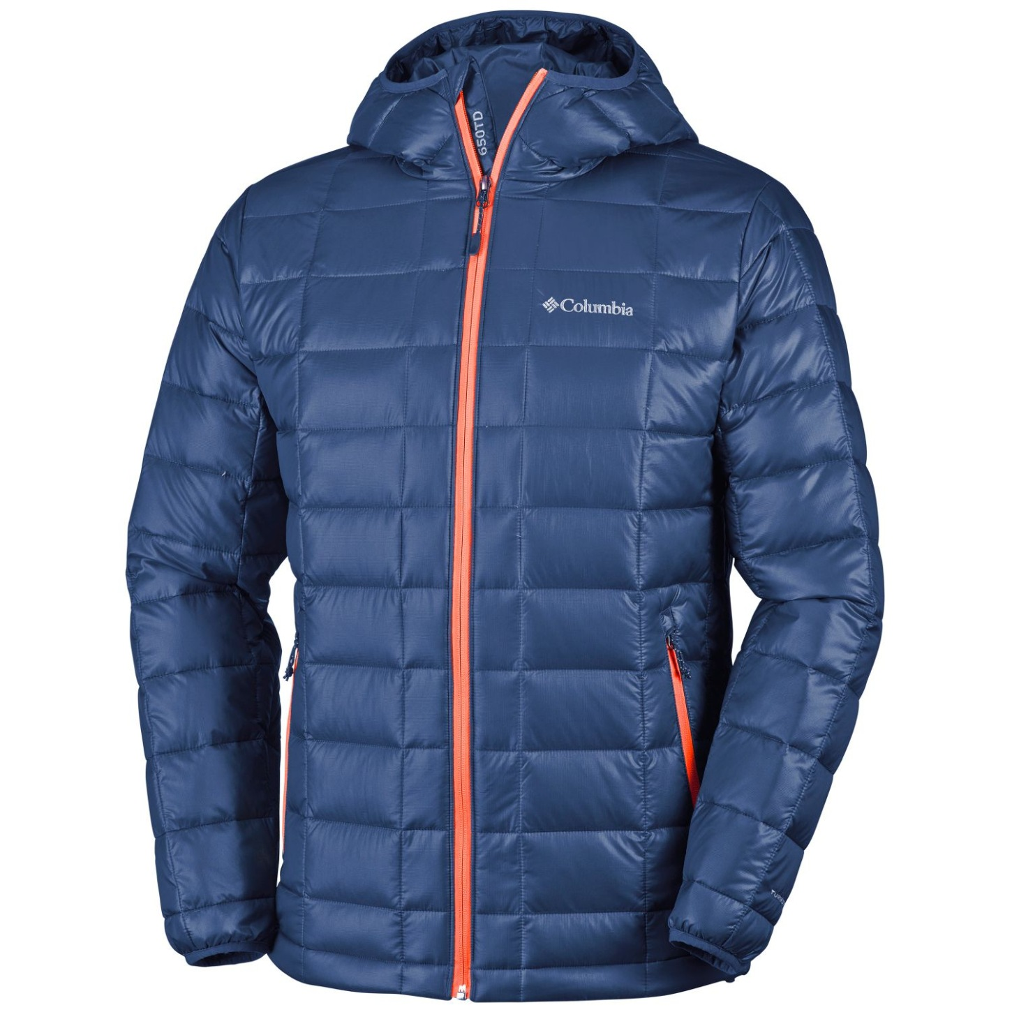 Columbia Men's Trask Mountain 650 TurboDown Hooded Jacket Collegiate Navy, Tangy Orange-30