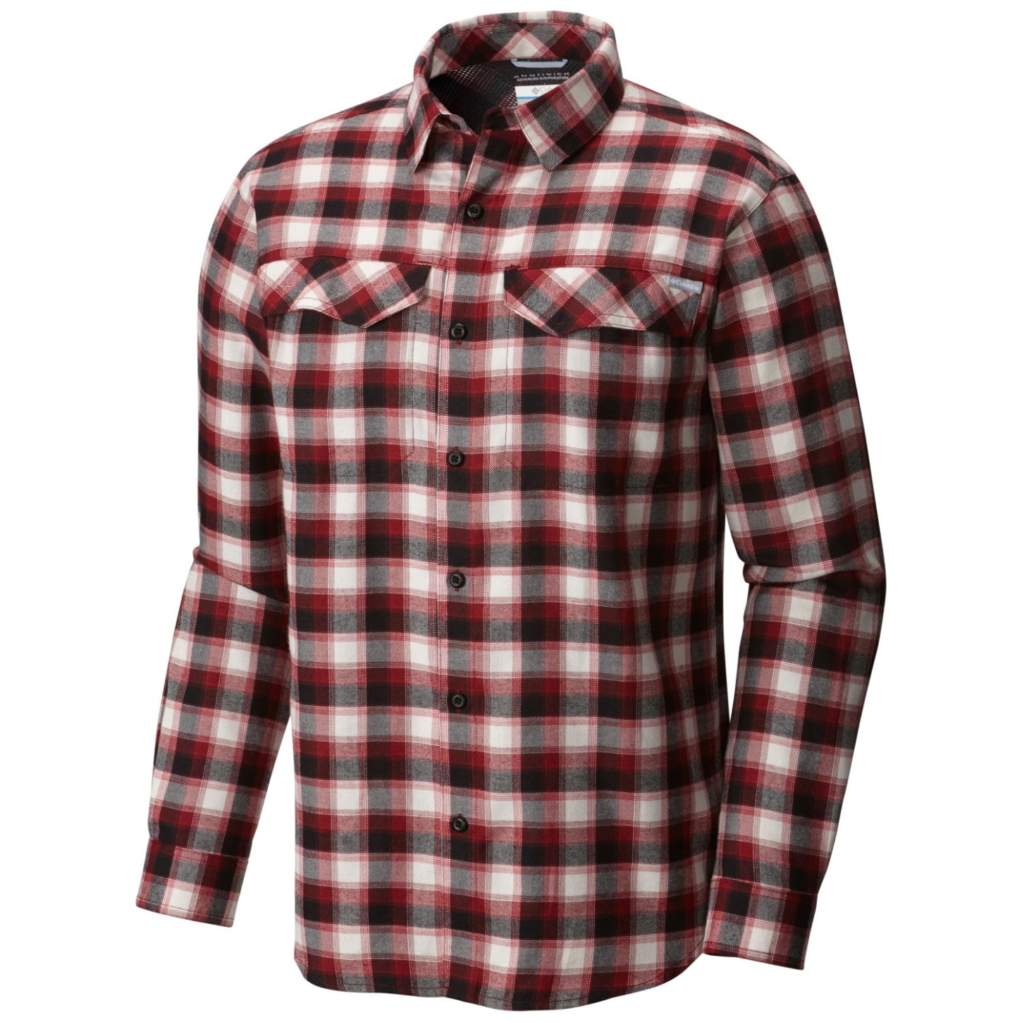 Columbia Men's Silver Ridge Flannel Long Sleeve Shirt Red Element Mid Plaid-30
