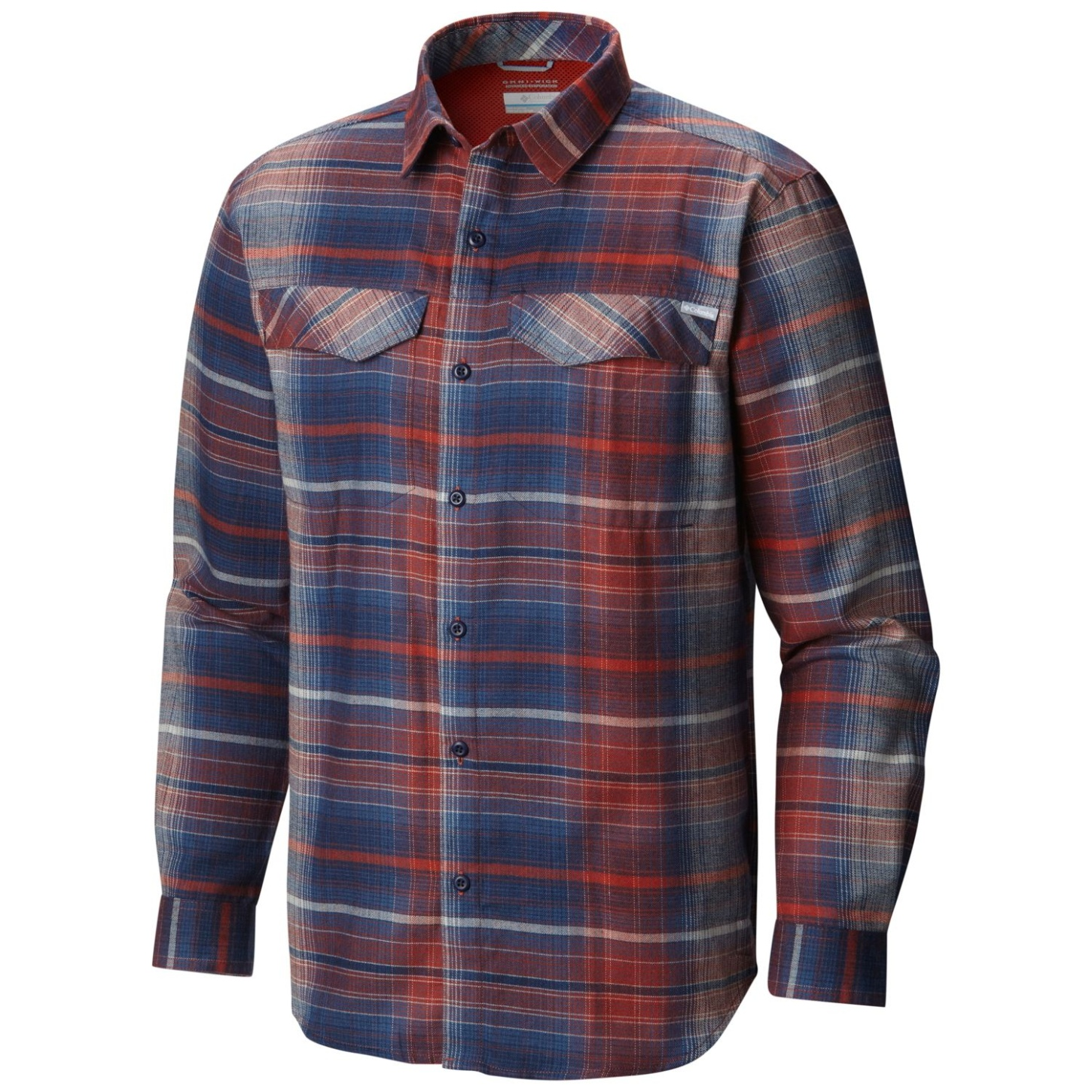 Columbia Men's Silver Ridge Flannel Long Sleeve Shirt Rust Red Ombre Plaid-30