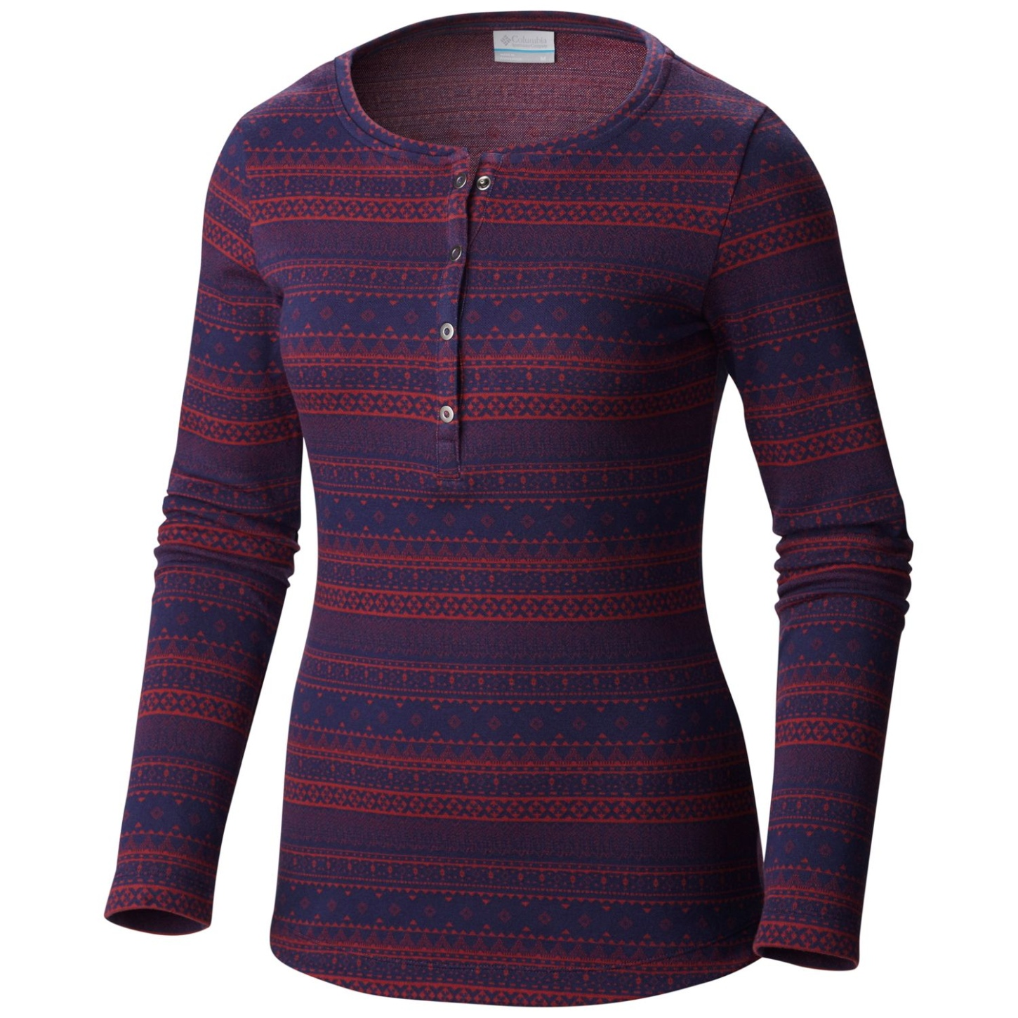 Columbia Women's Aspen Lodge Jacquard Henley Top Marsala Red Jacquard-30