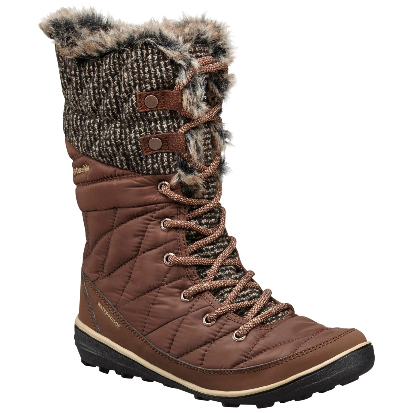 Columbia Women's Heavenly Omni-heat Knit Winter Boots Tobacco, Dark Mirage-30