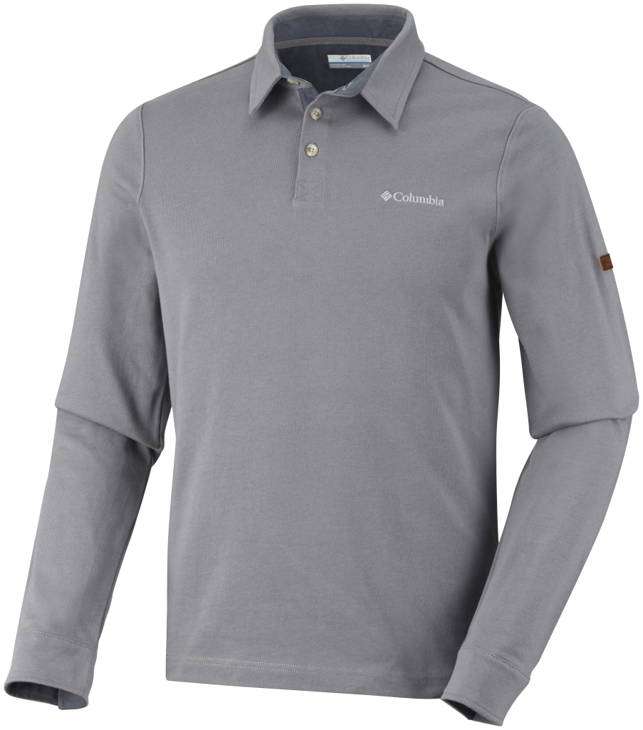 Columbia Men's Fields of Grey Long Sleeve Polo Boulder-30