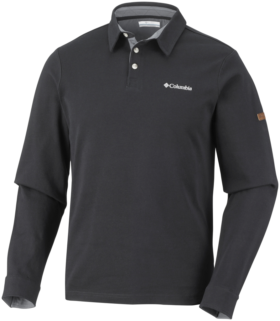 Columbia Men's Fields Of Grey Long Sleeve Polo Black-30