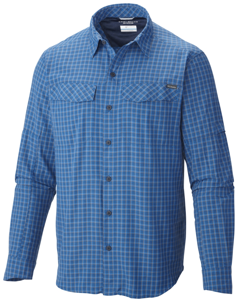 Columbia Men'S Silver Ridge Plaid Long Sleeve Shirt Marine Blue Plaid-30