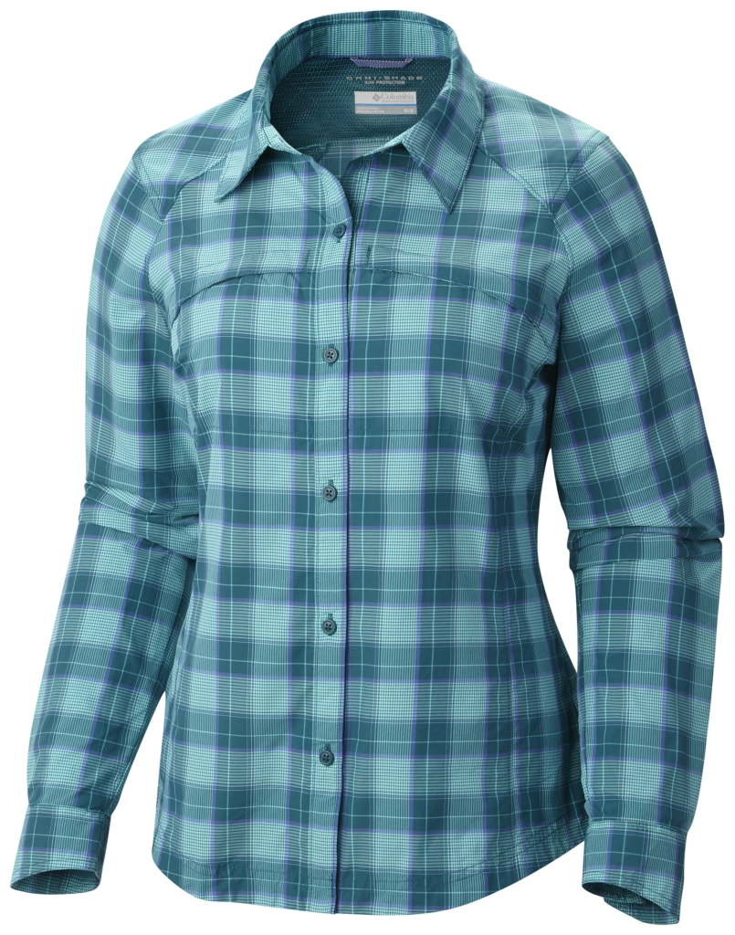 Columbia Women's Silver Ridge Plaid Long Sleeve Shirt Deep Wavy Mid Plaid-30